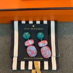 Lele Sadoughi Pink Green Brass Light Blue earrings